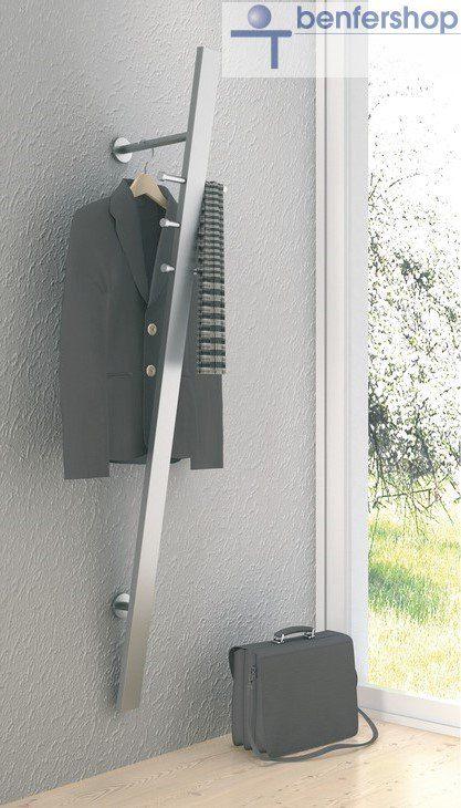 wandgarderobe edelstahl mit 6 stk festehenden haken im benfershop kaufen. Black Bedroom Furniture Sets. Home Design Ideas