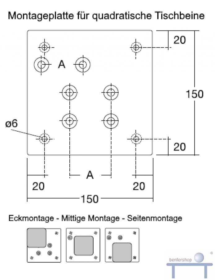 tischbein edelstahl eckig 60 x 60 mm im benfershop kaufen. Black Bedroom Furniture Sets. Home Design Ideas
